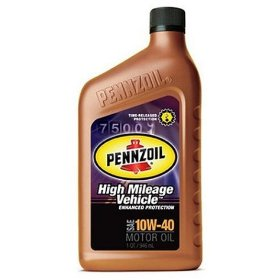 Show details of Pennzoil 160555 10W40 High Mileage Motor Oil, Case of Six 1 Quart Bottles.