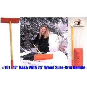 "Show details of Sno Rake - Model #101 - 12"" Rake/24"" Wood Handle."