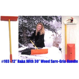 "Show details of Sno Rake - Model #103 - 12"" Rake/30"" Wood Handle."