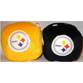 Show details of Pittsburgh Steelers Fuzzy Dice.