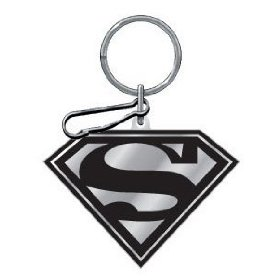 Show details of Black And Silver Superman Enamel Key Chain.