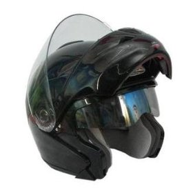 Show details of Midnight Black DOT APPROVED VOX FLIP UP MODULAR SNOWMOBILE MOTORCYCLE HELMET- LARGE.