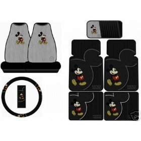 Show details of Mickey Mouse Vintage 8PC Combo Front Rear Car Floor Mats Seat Covers Steering Wheel Cover CD Organizer Plus Bonus Matching Key Chain.