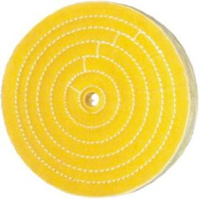 "Show details of 8"" Premium 50 Ply Buffing Wheel, Yellow Hard Cotton, 5/8""."