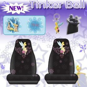 Show details of 5 Pc Car Accessories- Tinkerbell Fearless Flirt Car Seat Covers Sundshade, Keychain and Air Vent Pocket Pouch.