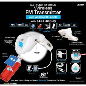 Show details of NEW VR3 VRFM9R FM MODULATOR TRANSMITTER FOR YOUR CAR STEREO WITH REMOTE.
