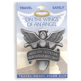 "Show details of ""Never Drive Faster Than Your Guardian Angel Can Fly"" Visor Clip."