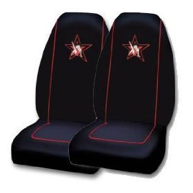 Show details of A Set of 2 Official Licensed Universal Fit Front Bucket Seat Covers - Betty Boop Leg up Rock Star.