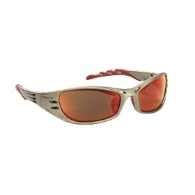 Show details of AO Safety 90987 Fuel High Performance Safety Glasses with Titanium-Colored Frame and Red Mirror Lens.