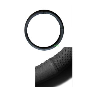 Show details of Geniune Leather Steering Wheel Cover - Black.