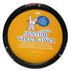 "Show details of Happy Bunny ""Driving Like A Psycho Is Fun"" Steering Wheel Cover."