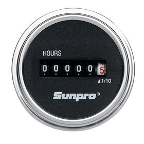 Show details of Sunpro CP7953 Analog Hour Meter - Black Face.