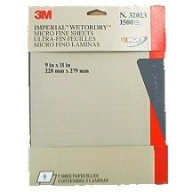 Show details of 3M Imperial Wetordry Sheet, 9 in x 11 in, Grade 1500, Pack of 5 Sheets.