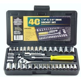 Show details of Great Neck PSO40 40 Piece 1/4-Inch and 3/8-Inch Drive Socket Set.