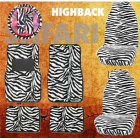 Show details of 9pc Safari White Zebra Tiger Print Car Floor Mats, High Back Seat Covers, Steering Wheel Cover & Shoulder Pad Set.