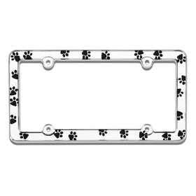 Show details of Chrome Paw Prints License Plate Frame.