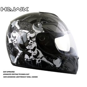 Show details of Advanced Hawk Chained Skull and Crossbones Gloss Black Full Face Motorcycle Helmet - Size : Medium.