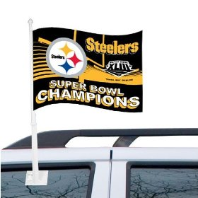 Show details of Pittsburgh Steelers Super Bowl XLIII Champions Black Car Flag.