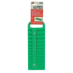 Show details of Lisle 40130 1/4 Drive Green Magnetic Socket Holder for 26 Sockets.