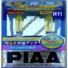Show details of PIAA 13511 H11 12-Volt Plasma Ion Crystal Yellow 55=100-Watt Bulb - Twin Pack.