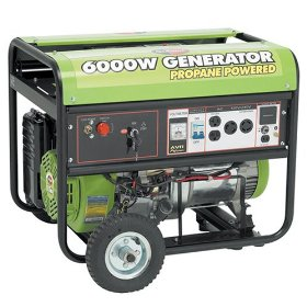 Show details of All Power America APG3560 6,000 Watt 13 HP OHV Propane Powered Generator with Electric Start & Wheel Kit.