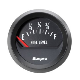 Show details of Sunpro CP8219 StyleLine Electrical Fuel Level Gauge - Black Dial.