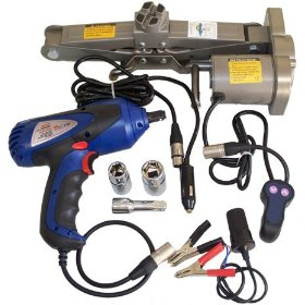 "Show details of 12v Electric Scissor Car Auto Jack + 1/2"" Impact Wrench."