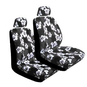 Show details of Set of 2 Universal Fit Hawaiian Low Back Front Bucket Seat Cover With Separate Headrest Cover for Seats - Charcoal Hawaii Hibiscus Floral Print.