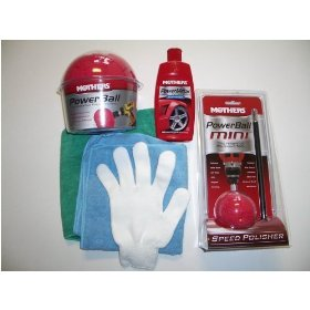 "Show details of Mothers Powerball and Mothers 3"" Mini Powerball plus one Power Metal Polish and Two Bonus Microfiber Towels and One Microfiber Detailing Glove."