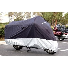 "Show details of Buy Factory Direct Motorcycle Cover - L, Soft lining.--large 84""Lx49""H."