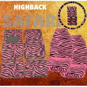 Show details of 9pc Safari Pink Zebra Print Car Floor Mats, High Back Seat Covers, Steering Wheel Cover & Shoulder Pad Set.