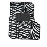 Show details of A Set of 4 Universal Fit Animal Print Carpet Floor Mats for Cars / Truck - Zebra White Tiger.