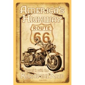 Show details of 11X17 AMERICA'S HIGHWAY RT66 HARLEYDAVIDSON VINTAGE METAL SIGN.