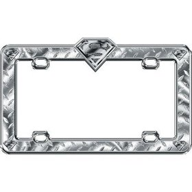 Show details of Superman Shield License Plate Frame Chrome.