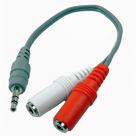 Show details of Cables Unlimited AUD-3010 8-Inch 3.5mm Stereo M to Dual 3.5mm Mono F Splitter.