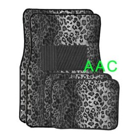 Show details of A Set of 4 Universal Fit Animal Print Carpet Floor Mats for Cars / Truck - Snow Leopard.