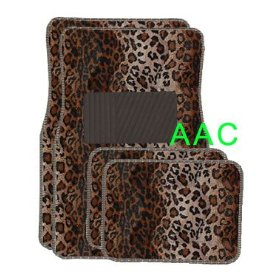 Show details of A Set of 4 Universal Fit Animal Print Carpet Floor Mats for Cars / Truck - Leopard.