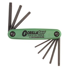 Show details of Bondhus 12632 GorillaGrip, Set of 8 Star Fold-up Keys, sizes T6-T25.