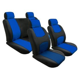 Show details of Free Upgrade Any Shipping Service to Priority Mail (Only Takes About 2-3days.) Univerisal Car Seat Cover Full Set Flat Cloth Blue/black.