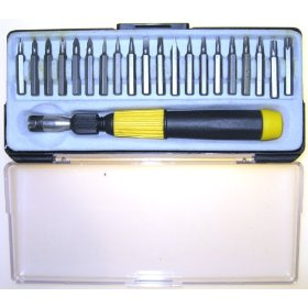 Show details of 20 pcs Mini PHILIPS, TORX & SLOTTED precision SCREW DRIVER BIT SET.