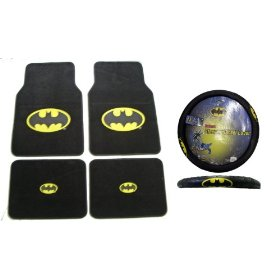 Show details of Batman Auto Accessories Interior Kit - Front & Rear Floor Mats, Steering Wheel Cover & Decal Set.
