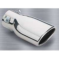"Show details of Superior 28-6302 4"" x 7"" Stainless Steel, Slant Cut, Oval Bolt-on Exhaust Tip."