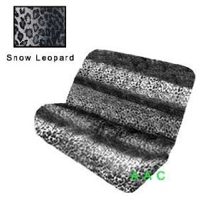 Show details of Universal-fit Animal Print Bench Seat Cover - Snow Leopard.
