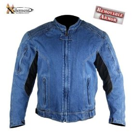 Show details of Men's Armored Blue Denim Padded Motorcycle Jackets by Xelement - Size : Medium.