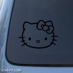 Show details of HELLO KITTY - Cat Feline - Car, Truck, Notebook, Vinyl Decal Sticker #1093 | Vinyl Color: Black.