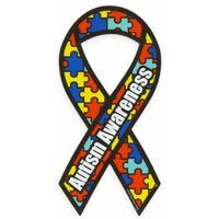 "Show details of Autism Awareness Ribbon Car Magnet. Size 8""long 3 3/4""wide. Made in USA."