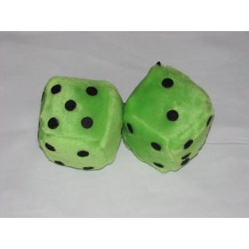 "Show details of 3"" Fuzzy Dice for Rear View Mirror Lime Green with Black Dots."