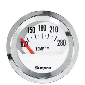 Show details of Sunpro CP8201 StyleLine Electrical Water/Oil Temperature Gauge - White Dial.