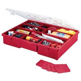 Show details of Stack-On Multi-Compartment Storage Box With Removable Dividers.