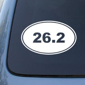 Show details of 26.2 MARATHON RUNNING EURO OVAL - Vinyl Car Decal Sticker #1765 | Vinyl Color: White.